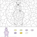 Cartoon Hippo Color by Number
