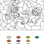 Two Monkeys Color by Number