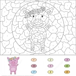Cartoon Pig Color by Number