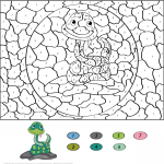 Cartoon Snake Color by Number