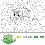Cartoon Pufferfish Color by Number