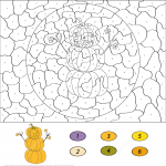 Pumpkin Snowman Color by Number