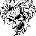 Diabelska czaszka z włosami