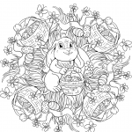 Easter Mandala with a Rabit and...