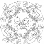 Easter Mandala with Two Rabbits and...
