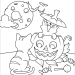 Halloween Cats and Jack O'Lantern