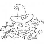 Jack O'Lantern in a Witch Hat with...