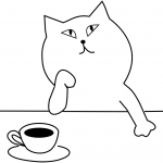 Cat is drinking a tea and thinking...