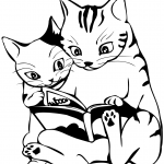 Two Cats Reading a Book