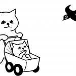 Mother Cat with Kitten in Stroller