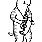 Cat Playing a Saxophone
