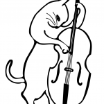 Cat Playing a Double Bass
