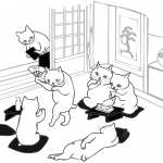 Cats Have a Party in Japanese Style