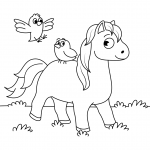 Cute Horse and Two Little Birds