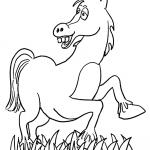 Zadowolony koń na trawie