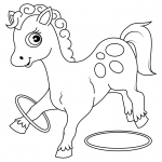 Cute Horse Plays with Rings