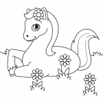 Cute Horse Laying down in Flowers