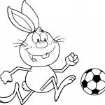 Słodki królik grający w piłkę nożną