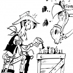 Cowboy and Horse Playing Chess