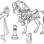 Dama and Horse Chess Pieces