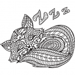 Sleeping Cat in Zentangle Style