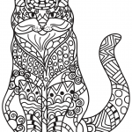 Sitting Cat in Zentangle Style