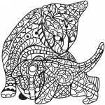 Cat and Kitten in Zentangle Style