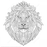 Lion Ethnic Zentangle