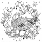 Christmas Goose with Apples Zentangle