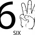 Znak ASL numer sześć